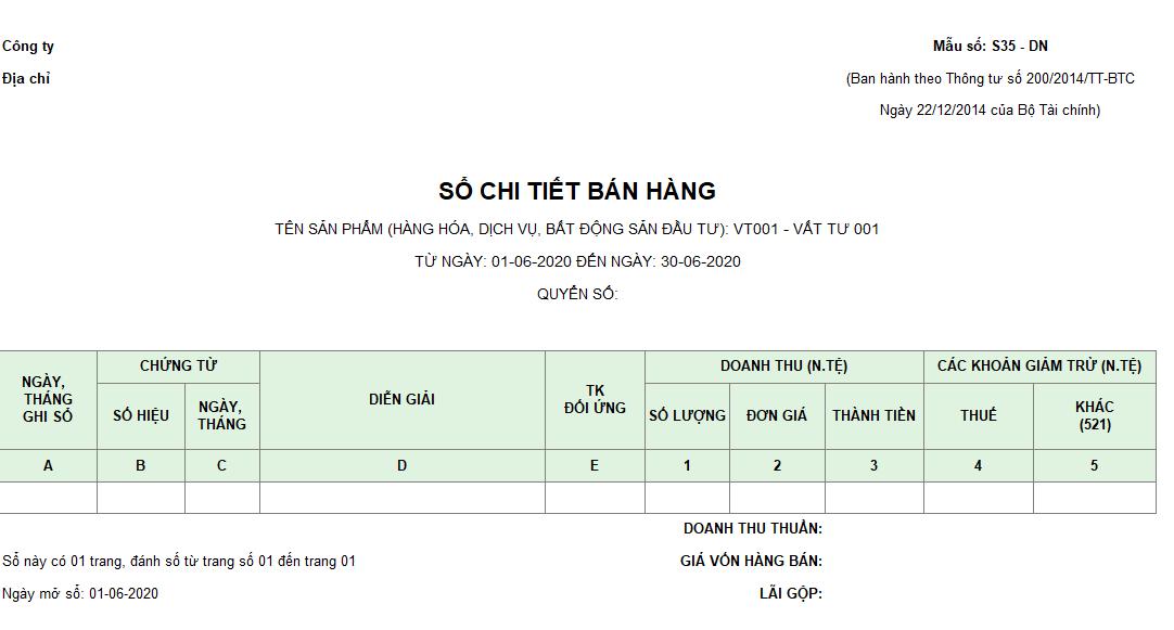 Mẫu sổ chi tiết bán hàng ( Ngoại tệ)  theo TT200/2014/TT-BTC ngày 22/12/2014 của Bộ Tài chính