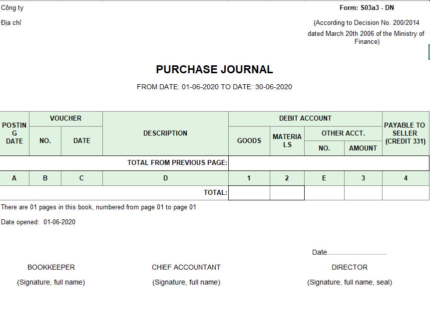 Mẫu sổ nhật ký mua hàng ( TIẾNG ANH) theo TT200/2014/TT-BTC