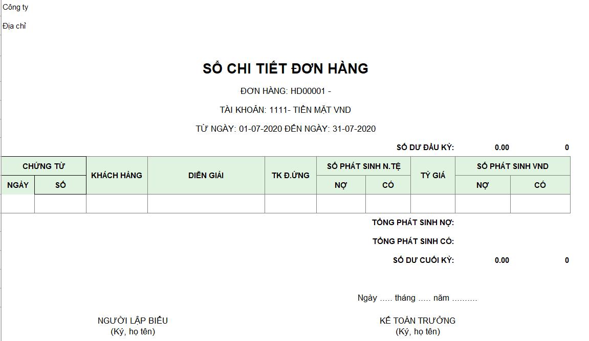Mẫu sổ chi tiết đơn hàng ( Ngoại tệ)