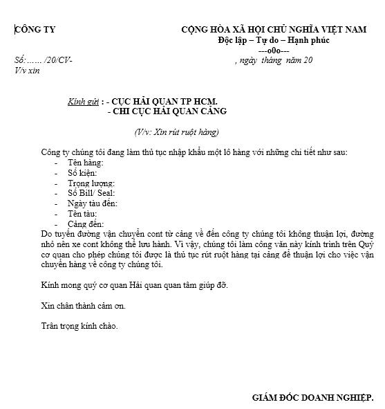 Mẫu công văn xin rút hàng container tại cảng