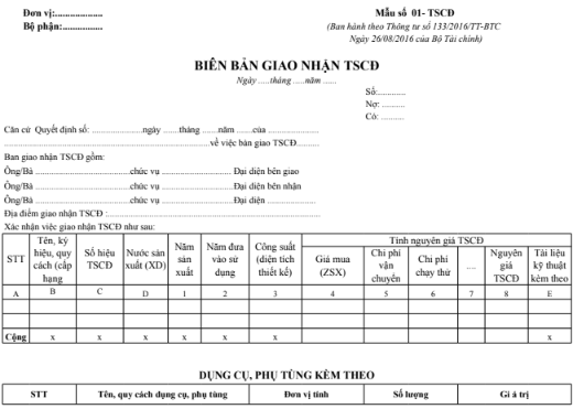 Mẫu biên bản giao nhận TSCĐ theo TT133/2016/TT-BTC ngày 26/08/2016 của Bộ Tài chính