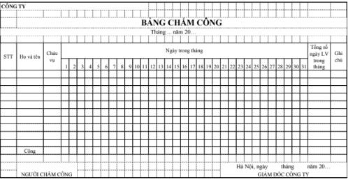 Mẫu bảng chấm công bằng Excel dành cho các doanh nghiệp thương mại