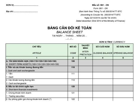 Mẫu bảng cân đối kế toán - SONG NGỮ theo TT200/2014/TT-BTC ngày 22/12/2014 của Bộ Tài chính