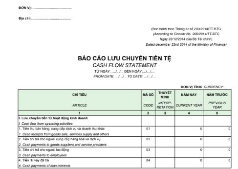 Mẫu báo cáo lưu chuyển tiền tệ - SONG NGỮ theo PP trực tiếp – Thông tư TT200/2014/TT-BTC ngày 22/12/2014 của Bộ Tài chính