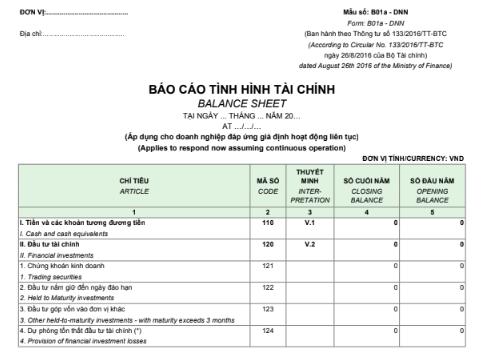Mẫu báo cáo tình hình tài chính - SONG NGỮ theo mẫu B01a-DNN_Thông tư 133/2016/TT-BTC ngày 26/08/2016 của Bộ Tài chính