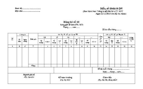 Mẫu bảng kê số 10 (Mẫu số S04b10-DN) theo TT200/2014/TT-BTC ngày 22/12/2014 của Bộ Tài chính