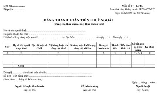 Mẫu bảng thanh toán tiền thuê ngoài  theo TT133/2016/TT-BTC ngày 26/08/2016 của Bộ Tài chính
