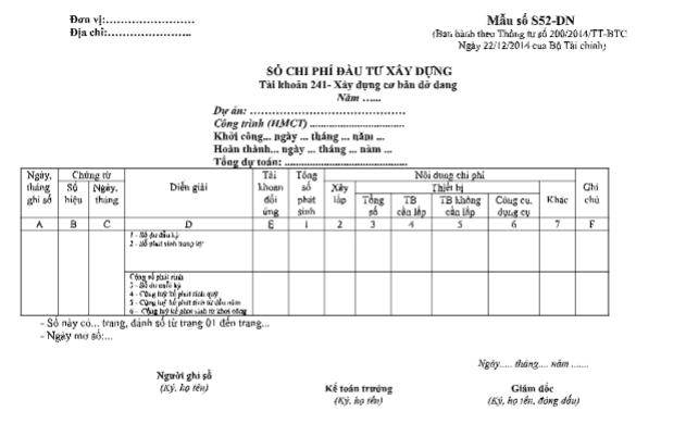 Mẫu sổ chi phí đầu tư xây dựng theo TT200/2014/TT-BTC ngày 22/12/2014 của Bộ Tài chính
