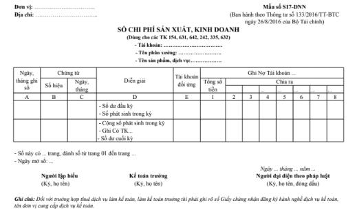 Mẫu sổ chi phí sản xuất kinh doanh theo TT133/2016/TT-BTC ngày 26/08/2016 của Bộ Tài chính