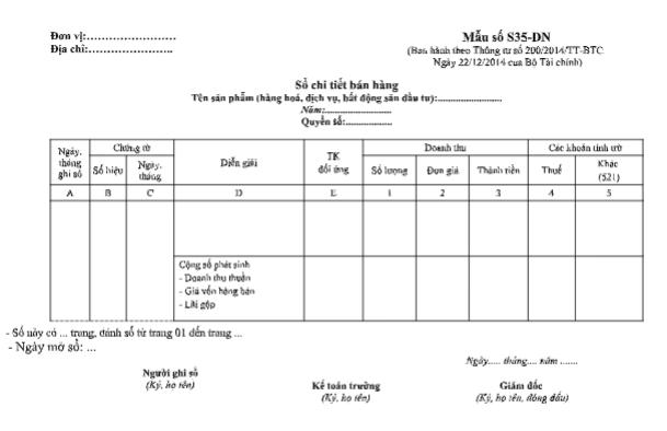 Mẫu sổ chi tiết bán hàng theo TT200/2014/TT-BTC ngày 22/12/2014 của Bộ Tài chính