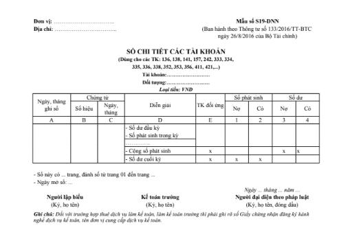 Mẫu sổ chi tiết các tài khoản theo TT133/2016/TT-BTC ngày 26/08/2016 của Bộ Tài chính