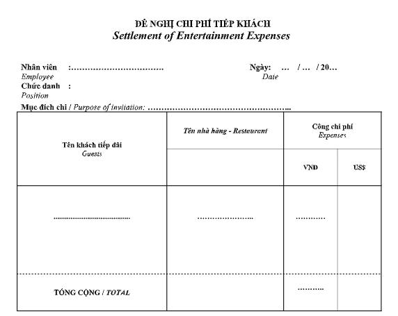 Mẫu đề nghị chi phí tiếp khách (Settlement of Entertainment Expenses )- SONG NGỮ