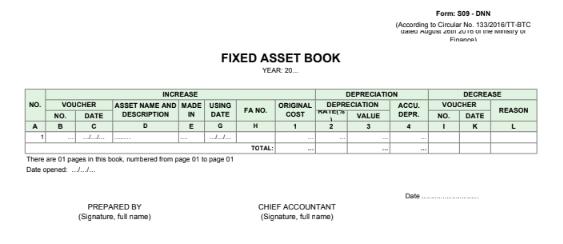 Mẫu sổ tài sản cố định (FIXED ASSET BOOK)- TIẾNG ANH theo TT133/2016/TT-BTC ngày 26/08/2016 của Bộ Tài chính