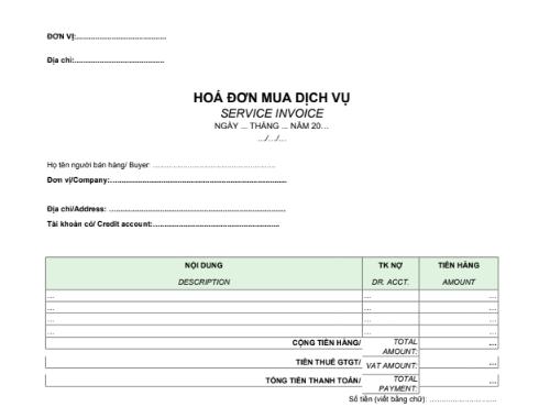 Mẫu hóa đơn mua dịch vụ (SONG NGỮ)