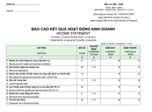 Mẫu báo cáo kết quả hoạt động kinh doanh - SONG NGỮ theo TT133/2016/TT-BTC ngày 26/08/2016 của Bộ Tài chính