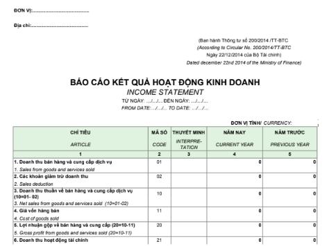Mẫu báo cáo kết quả hoạt động kinh doanh - SONG NGỮ theo TT200/2014/TT-BTC ngày 22/12/2014 của Bộ Tài chính