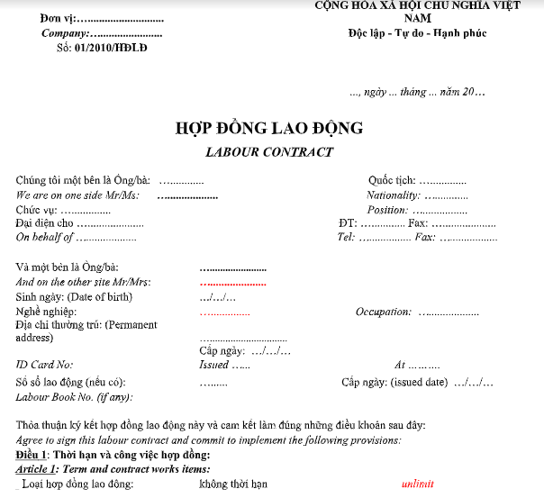 Mẫu hợp đồng lao động song ngữ (Labour Contract)
