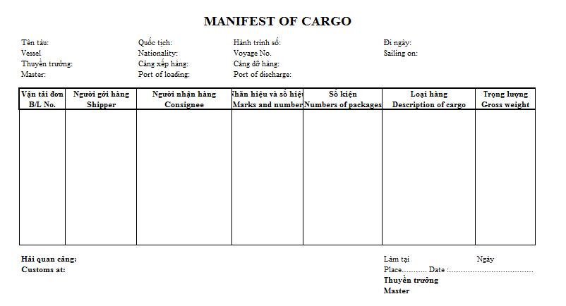 Mẫu bảng kê khai hàng hóa - MANIFEST OF CARGO ( TIẾNG ANH )