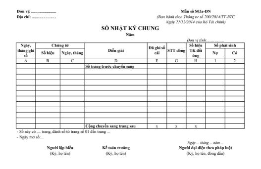 Mẫu sổ nhật ký chung theo TT200/2014/TT-BTC ngày 22/12/2014 của Bộ Tài chính