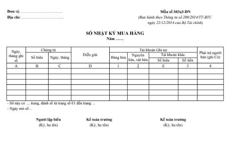 Mẫu sổ nhật ký mua hàng theo TT200/2014/TT-BTC ngày 22/12/2014 của Bộ Tài chính