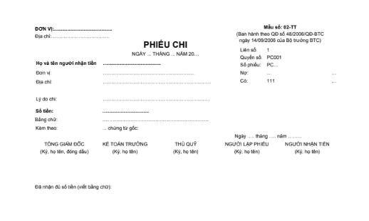 Mẫu phiếu chi (1/2A4) theo QĐ số 48/2006/QĐ-BTC ngày 14/09/2006 của Bộ trưởng Bộ Tài chính