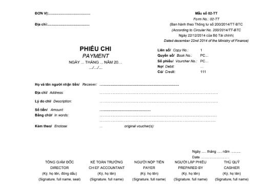 Mẫu phiếu chi (1/2A4) SONG NGỮ theo TT200/2014/TT-BTC ngày 22/12/2014 của Bộ Tài chính