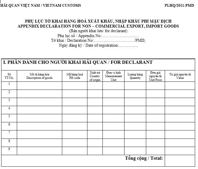 Mẫu phụ lục tờ khai hàng hóa XK/NK phi mậu dịch (PLHQ/2011-PMD) (Ban hành kèm theo TT 190/2011/TT-BTC ngày 20/12/2011)