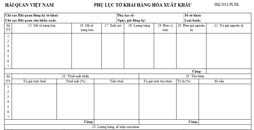 Mẫu phụ lục tờ khai hàng hóa xuất khẩu (HQ/2012-PLXK)