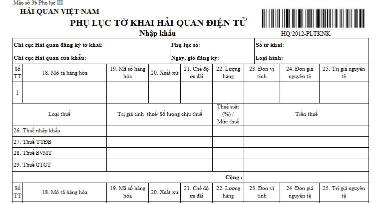 Mẫu phụ lục tờ khai hải quan điện tử nhập khẩu (Ban hành kèm theo TT 196/2012/TT-BTC ngày 15/11/2012 )