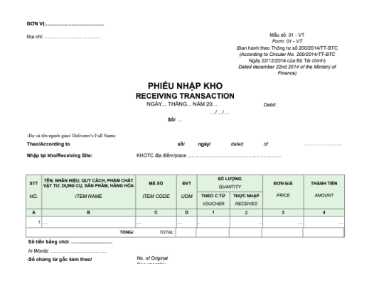 Mẫu phiếu nhập kho (RECEIVING TRANSACTION) - SONG NGỮ theo TT200/2014/TT-BTC ngày 22/12/2014 của Bộ Tài chính