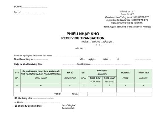 Mẫu phiếu nhập kho - SONG NGỮ theo TT133/2016/TT-BTC ngày 26/08/2016 của Bộ Tài chính
