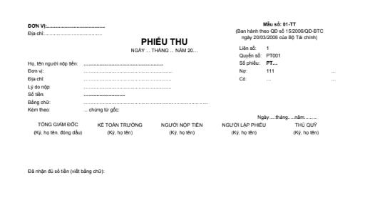 Mẫu phiếu thu (2 liên) theo QĐ số 15/2006/QĐ-BTC ngày 20/03/2006 của Bộ trưởng Bộ Tài chính