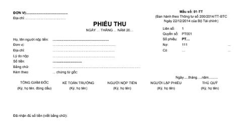 Mẫu phiếu thu (2 liên) theo theo TT200/2014/TT-BTC ngày 22/12/2014 của Bộ Tài chính