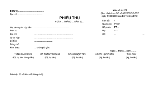 Mẫu phiếu thu (2 liên) theo QĐ số 48/2006/QĐ-BTC ngày 14/09/2006 của Bộ trưởng Bộ Tài chính