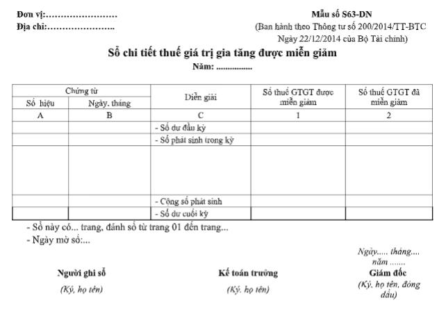 Mẫu sổ chi tiết thuế GTGT được miễn giảm theo TT200/2014/TT-BTC ngày 22/12/2014 của Bộ Tài chính