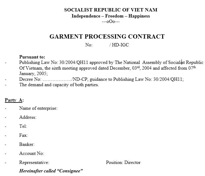 Mẫu hợp đồng gia công - GARMENT PROCESSING CONTRACT ( TIẾNG ANH)