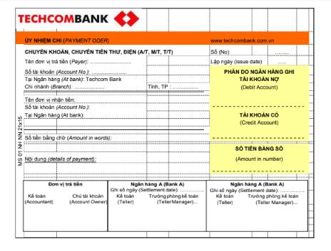Mẫu giấy ủy nhiệm chi ngân hàng Techcombank - Ngân hàng thương mại cổ phần Kỹ Thương Việt Nam