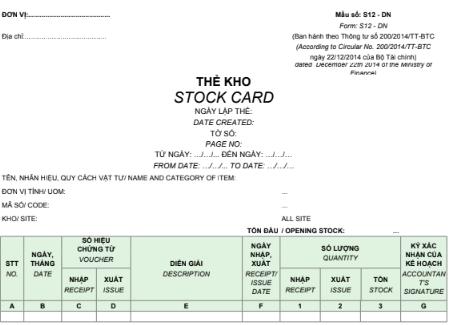 Mẫu thẻ kho (Sổ kho)-SONG NGỮ S12-DN theo TT200/2014/TT-BTC ngày 22/12/2014 của Bộ Tài chính