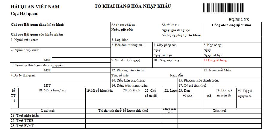 Mẫu tờ khai hàng hóa nhập khẩu