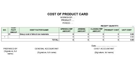 Thẻ tính giá thành sản phẩm - COST OF PRODUCT CARD