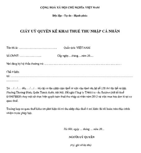 Mẫu giấy ủy quyền kê khai thuế thu nhập cá nhân