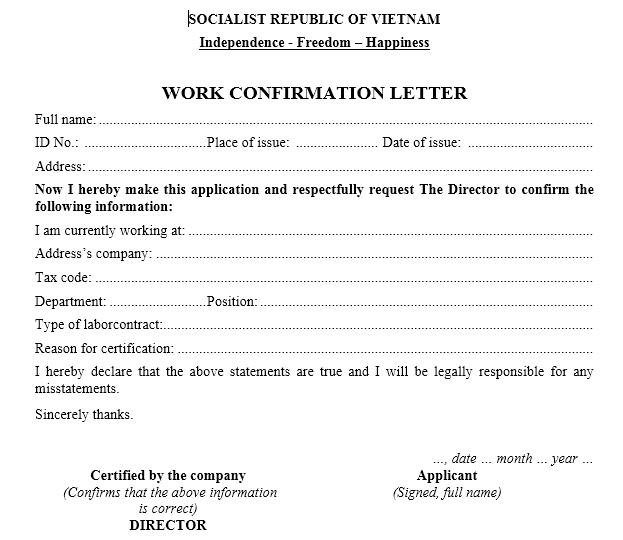 Mẫu đơn xin xác nhận công tác - WORK CONFIRMATION LETTER