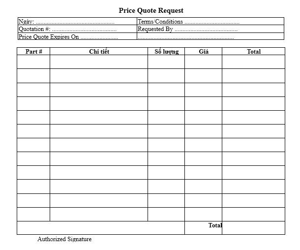 Mẫu yêu cầu báo giá (Price Quote Request) - TIẾNG ANH