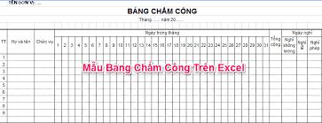 Bảng chấm công bằng File Excel được thiết lập sẵn công thức - Tải về không có quảng cáo