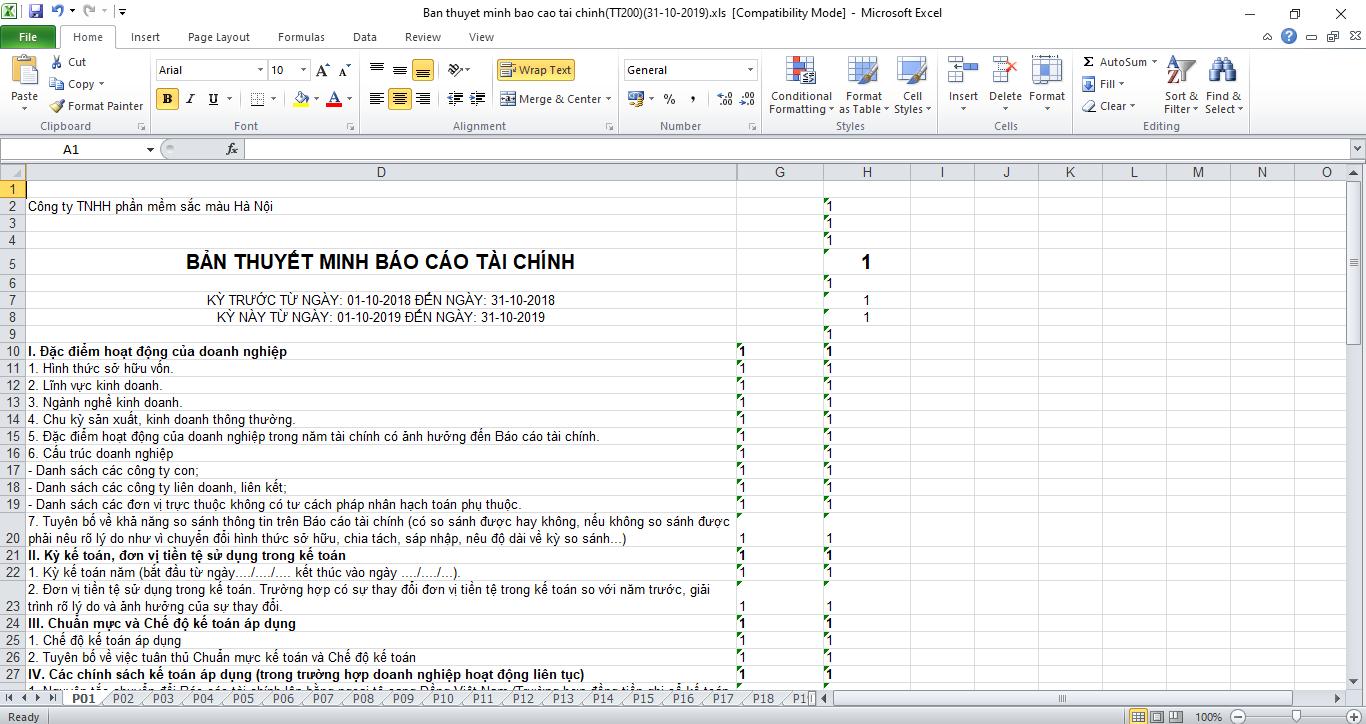 Thuyết minh báo cáo tài chính theo thông tư TT200, Mẫu File Excel chuẩn.