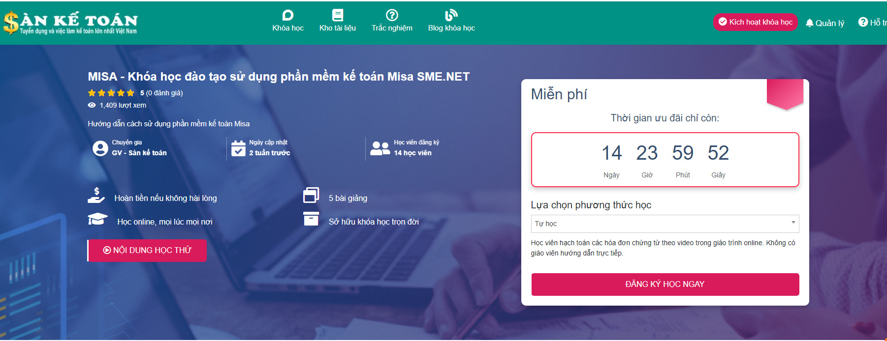Khóa học căn bản sử dụng phần mềm MISA SME.NET 2021
